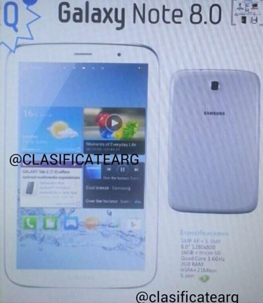 Imagen filtrada del Samsung Galaxy Note 8.0