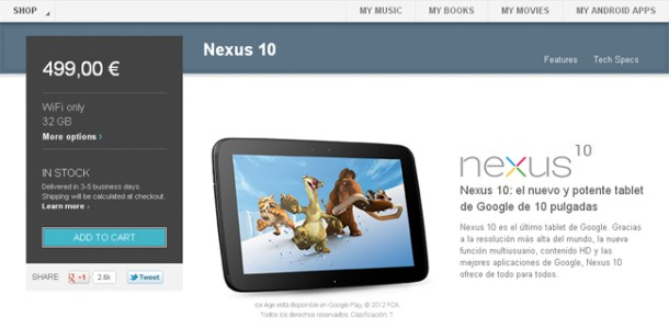 Nexus 10 de 32 GB disponible en la Google Play
