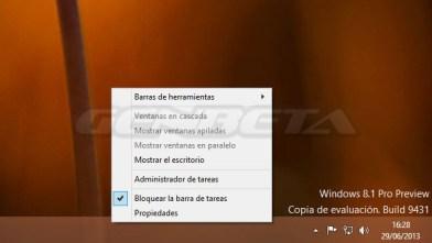 Menú de la barra de tareas de Windows 8.1