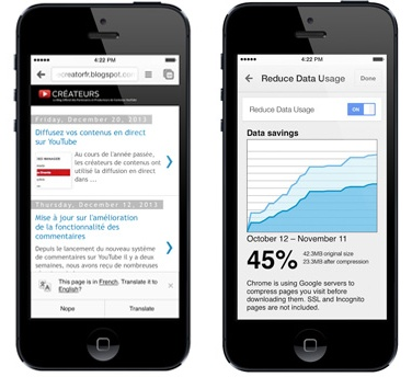 Actualización de Chrome para iOS permite traducir texto fácilmente y ahorrar en datos