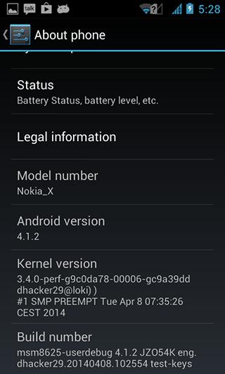 Información Nokia X Custom ROM Vanilla AOSP