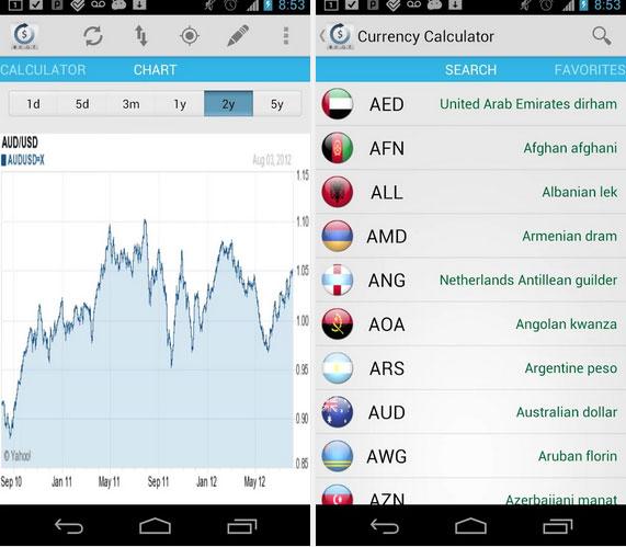 Conversor de monedas, captura de pantalla