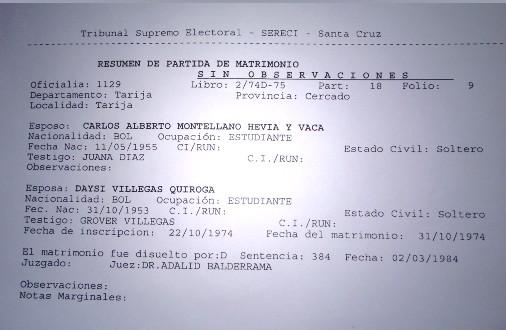 PARTIDA DE MATRIMONIO DAISY VILLEGAS