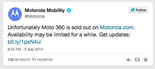 Twitter Motorola El Moto 360 se agota en cuestión de minutos en los Estados Unidos