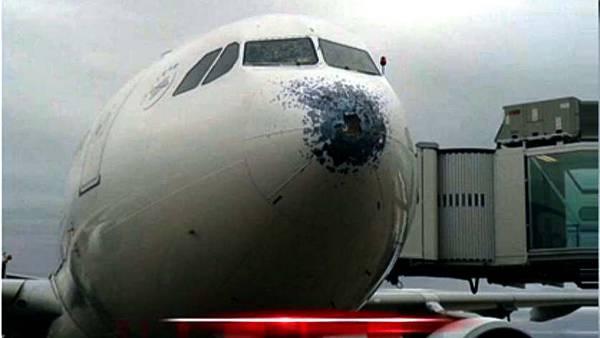 El granizo le rompió la trompa a un avión que aterrizó en Ezeiza. (TN)