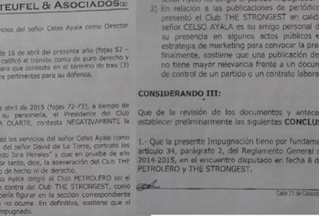Esta es parte de la misiva que se le hizo entrega a la dirigencia del club Petrolero del Chaco