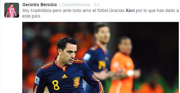 El mensaje del futbolista Gerardo Berodia, que militó en el balompiñe boliviano, también despidió a Xavi, a pesar de que el madridista