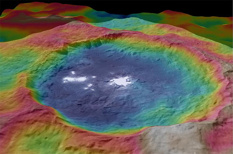 El mapa topográfico iluminado del crater Occator en cuyo fondo la nave espacial Dawn captó los más brillantes de los misteriosos puntos en la superficie de Ceres.