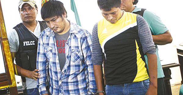 Los detenidos que ayer fueron mostrados por el ministro de Gobierno