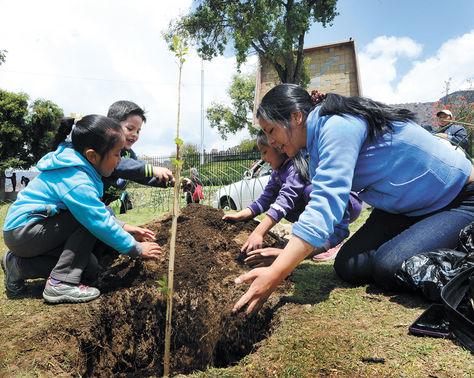 Plantación. Niños y adultos se sumaron a la campaña.