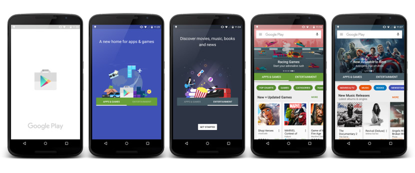 nuevo play store Google Play Store se renovará con el contenido organizado en apps/videojuegos y entretenimiento