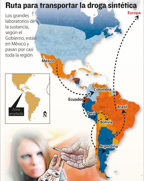 Infografía: Ruta para transportar la droga sintética.