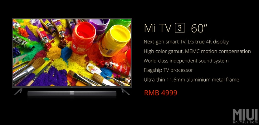 Mi TV 3 Xiaomi presenta la Mi TV 3, una smart TV 4K de 60 pulgadas por 690€