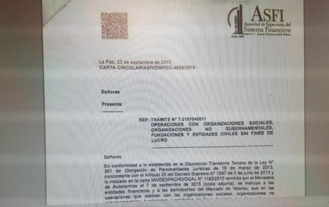 ASFI instruye a bancos que organizaciones sociales y ONG tengan estatutos modificados para hacer transacciones