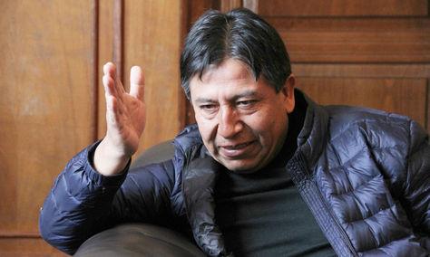 El canciller David Choquehuanca durante una entrevista con La Razón. Foto: Archivo