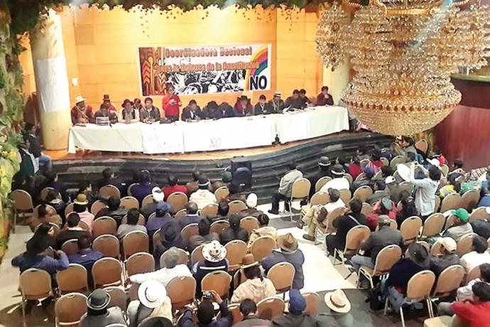AMPLIADO. Los miembros de CONALPADECO, en su reunión de Oruro.