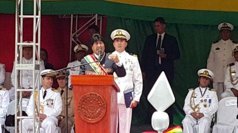 El presidente Evo Morales pidió a Chile una propuesta escrita para dar solución al conflicto marítimo en la celebración del 189 aniversario de la Armada Boliviana. Foto: Ángel Guarachi.