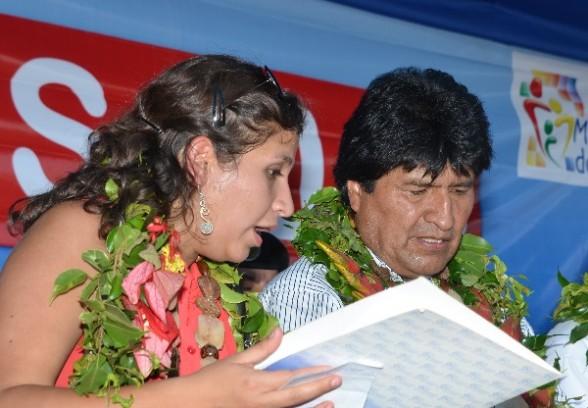El presidente Evo Morales junto a la ministra de Salud Ariana Campero.   Foto archivo - Abi Agencia