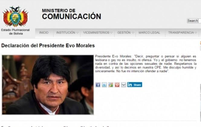Evo Morales se disculpa por haberse referido a la sexualidad de su Ministra de Salud