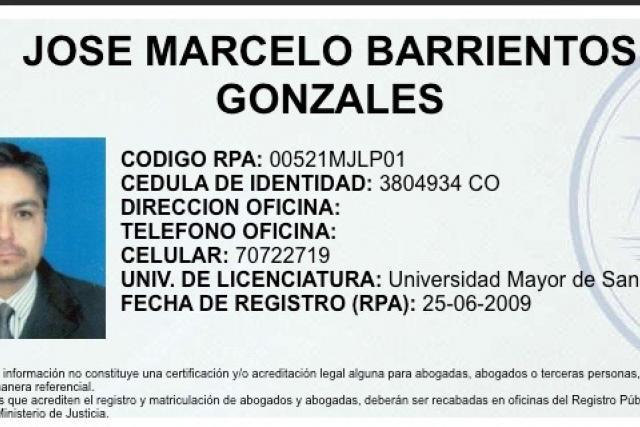 Juez Marcelo Barrientos, registro como Abogado del Ministerio de Justicia