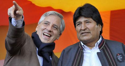 El vicepresidente Álvaro García Linera y el presidente Evo Morales