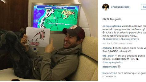 Enrique Iglesias informa en su cuenta de Instagram que se enteró del premio Grammy en el vuelo hacia Bolivia