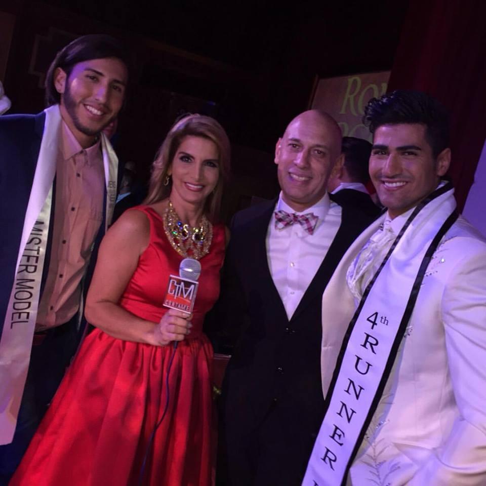 En plena cobertura del Mr. International, con el Mr. Bolivia Grover Ordóñez, Luis Trujillo Director del Mr. International y el Mr. Libano, finalista del concurso, ganó  Mr. Puerto Rico,