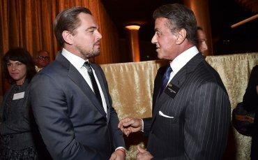 Leonardo Di Caprio junto al célebre Sylvester Stallone. La polémica por la falta de artistas negros en las nominaciones no fue un tema que preocupara a los presentes