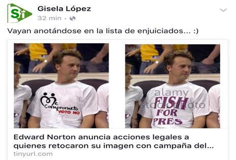 Publicación de la gerente del canal estatal Bolivia TV.