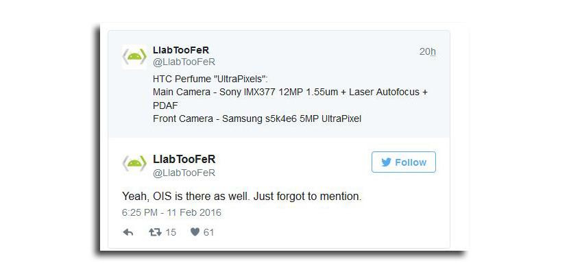 twitter render Aparecen las especificaciones de la cámara y un render del HTC One M10