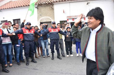 Morales saluda a su militancia en la ciudad de Sucre
