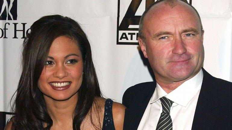 Phil Collins junto a su tercera ex esposa, Orianne