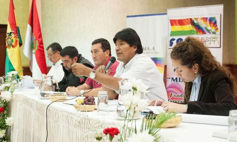 El presidente Evo Morales en un acto en Tarija con Alcaldes.