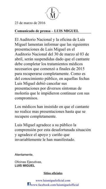 El comunicado de la oficina de Luis Miguel.