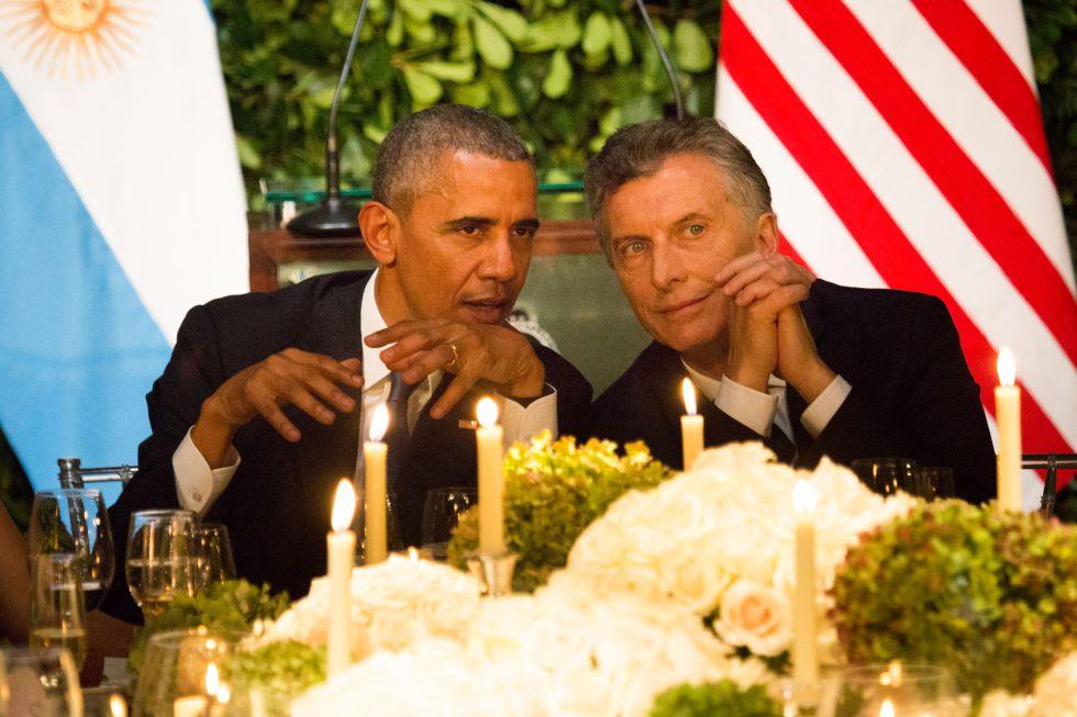 Obama y Macri, durante la cena oficial en Buenos Aires.