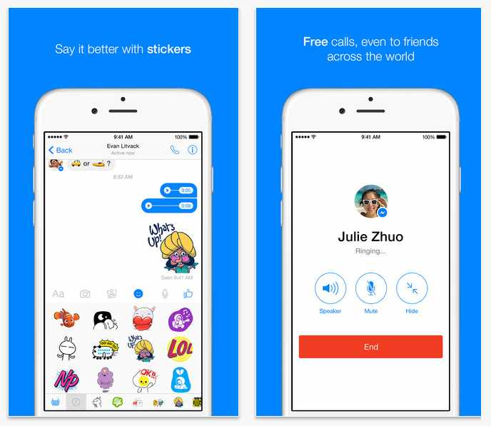 Imagen: Capturas oficiales de FB messenger para iOS