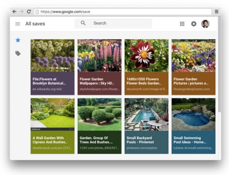 Aspecto de Google.com/Save, con las fotos guardadas