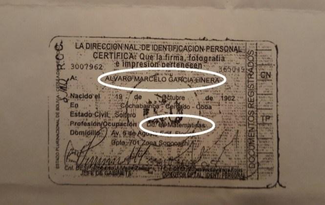 Cédula de García Linera señala que es Lic. en Matemáticas, pese a que él mismo admitió que ello no es verdad