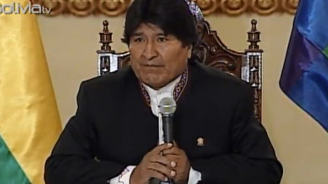 El presidente Evo Morales en conferencia de prensa