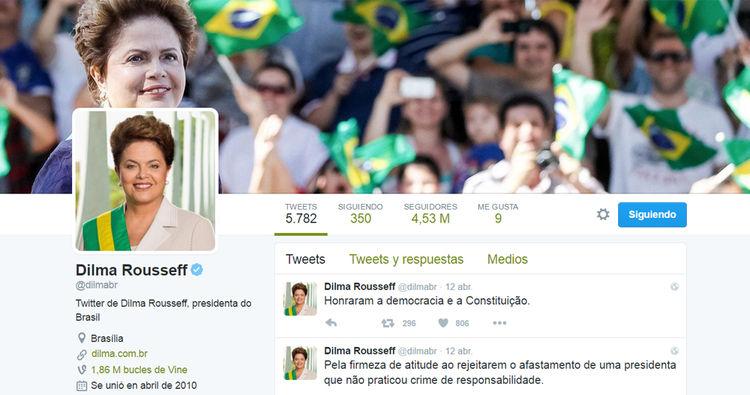 Cuenta Dilma Rousseff, presidenta de Brasil: @dilmabr
