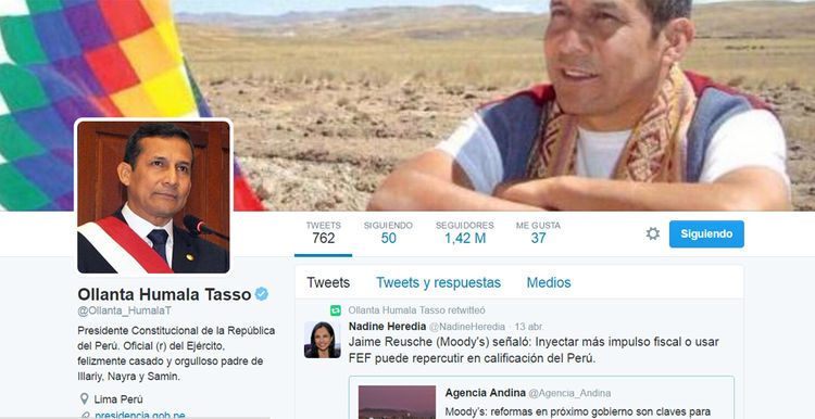 Cuenta Ollanta Humala, presidente de Perú: @Ollanta_HumalaT
