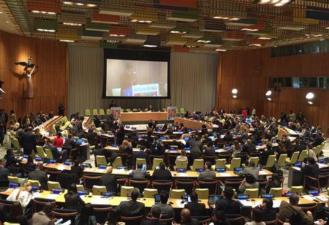 El presidente Evo Morales durante su intervención en las Naciones Unidas. Foto:  @DiegoPary