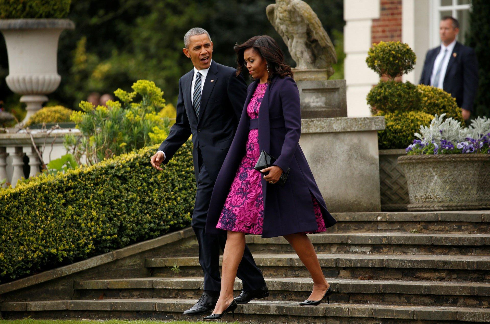 El matrimonio presidencial de EEUU en las escalinatas del castillo