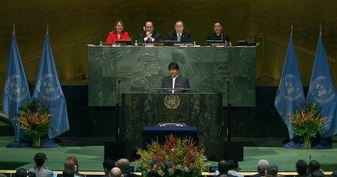 Evo Morales en la Asamblea de la ONU