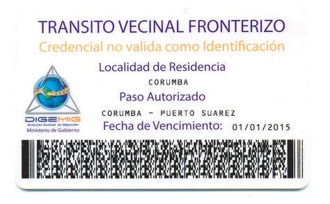 Documento. Una muestra de la Tarjeta Vecinal Fronteriza que rige entre Bolivia y Brasil.