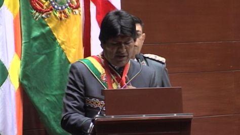 El presidente Evo Morales en la sesión legislativa departamental en homenaje al aniversario de Chuquisaca