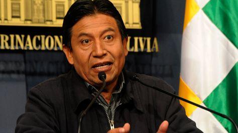 El canciller David Choquehuanca en conferencia de prensa.