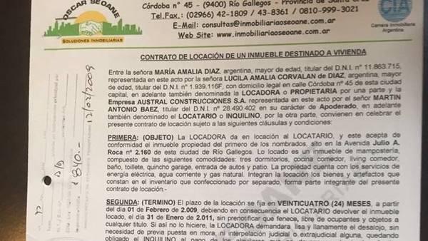 Este es el documento que evidencia lazos entre López y Báez.