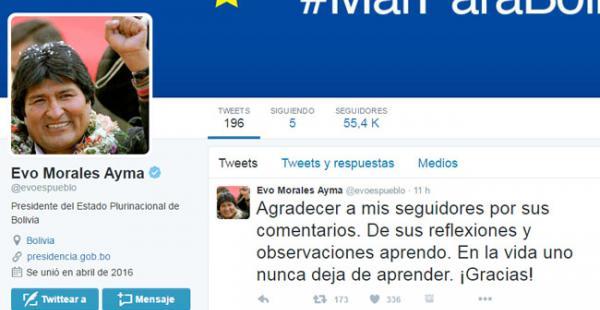 El 15 de abril, el jefe de Estado abrió su cuenta en la red social