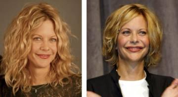 Meg Ryan antes y después de comenzar a retocarse la cara.